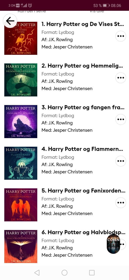 harry potter på lydbog