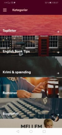 kategorier i mofibos app